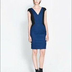 3/$25🍂 Zara Color Block Blue & Black Dress Size M